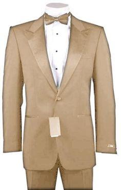 Groom's Tux....  SKU#BGE6916 1 or 2 Button Peak Lapel 100% Wool Designer Side Vented Tuxedo Beige $449 Tuxedos / Formalwear 1 Button Tuxedos