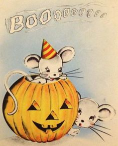 Vintage illustration of mice in Halloween jack-o'-lantern Retro Halloween, Spooky Halloween, Halloween Fotos, Vintage Halloween Images, Halloween Prints, Vintage Holiday, Holidays Halloween, Halloween Decorations, Cute Halloween Pictures