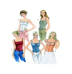 McCalls 4455 Multi Style Corset Style Top Bodice Variations and Strap/Sleeve Options Back Zipper Sz 12-14-16-18- UNCUT by FindCraftyPatterns on Etsy