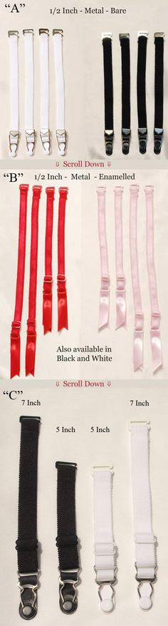Garter straps (for the striped thigh highs). White, black, red, and pink. $1.40