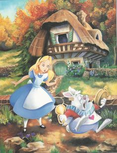 alice in white rabbit's house book page 1 Lewis Carroll, Arte Disney, Disney Art, Disney Pixar, Disney Characters, Illustrations, Illustration Art, Alice In Wonderland Drawings, Chesire Cat