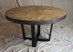 Parquet Oak Round Industrial Table by MetalTreeFurniture on Etsy