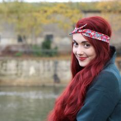 Crown and Glory Hair Accessories — Elodie Red Floral Print Headscarf