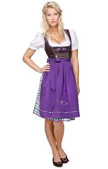 Traditional german mid length dirndl 3pcs. Nida violet 60cm
