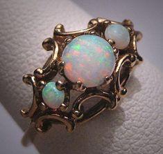 Antique Victorian Australian Opal Pearl Ring Vintage Wedding Art Deco #antiquejewelry
