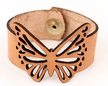 Butterfly Bracelet Veg Tan Leather Cuff Laser Cut
