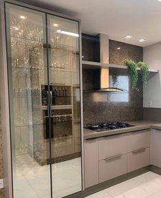 Fantastic kitchen style are offered on our website. Kitchen Room Design, Kitchen Cabinet Design, Modern Kitchen Design, Home Decor Kitchen, Interior Design Living Room, Kitchen Cabinets Models, Glass Kitchen Cabinets, Kitchen Models, Design Moderne