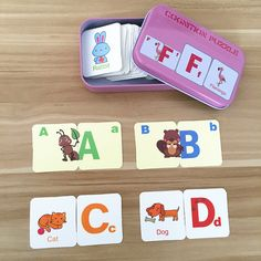 Baby Toys English Cognitive Card Digital/Fruit/Animal/Letter Set Pair Puzzle Early Head Start Training Puzzle Educational Gift #Affiliate