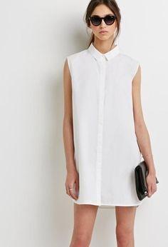 White shirt dress dress shirts for women, clothes for women, forever 21 dre Forever 21, Dress Shirts For Women, Clothes For Women, Simple Dresses, Dresses For Work, Office Fashion Women, Classic Style Women, Little White Dresses, Women's Fashion Dresses
