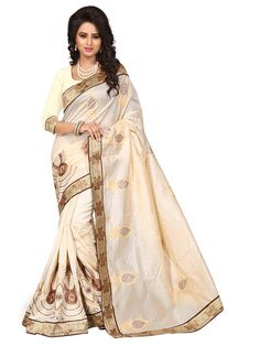 Cream Chanderi Silk Saree With Blouse 70723