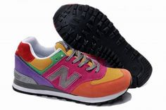 Joes New Balance 574 US574W1 Pink Yellow Orange Purple Grey Womens Shoes