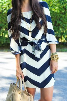 Navy Blue Chevron 3/4 length sleeve dress