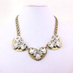 Crystal Floral Necklace  J Crew Style Necklace   by FanDuoDuo, $13.50