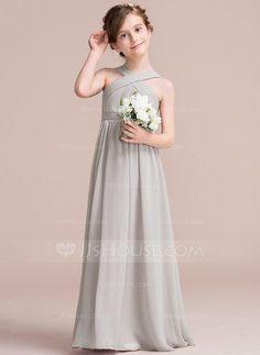 [US$ 64.19] A-Line/Princess Floor-length Flower Girl Dress - Chiffon Sleeveless V-neck With Ruffles/Bow(s)