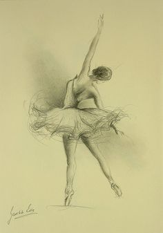 ORIGINAL pencil drawing 12 x 8 on CREAM paper of BALLERINA by Ewa Gawlik.