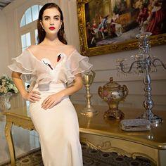 >> Click to Buy << Swan Apliques Elegant Mermaid Evening Dress O Neck Puffy Sleeve Floor Length White Evening Dresses Vestidos De Fiesta Crystal #Affiliate