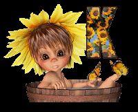 Alfabeto animado nena con girasoles.   Oh my Alfabetos!