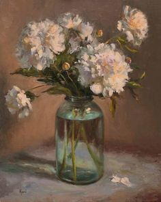 Kami Polzin - White Peonies And A Mason Jar- Oil - Painting entry - June 2012 | BoldBrush Painting Competition