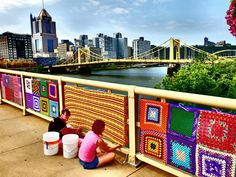 This photo is borrowed from the Pittsburgh Knit The Bridge project done in 2013. We have a similar idea for our 2016 Goose Day event - the Community Knitting Project kicks off on June 18. Don't know how to knit? We'll teach you - for FREE!