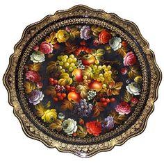 Plateau de fruits en métal peint a Jostovo Russie, Grand plateau rond artisanat