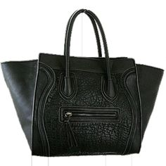 Inspired from the popular Celine handbag this tote features: - High quality faux leather in colorblock detail One inside wall zipper, two small pouch pockets and top zipper closure. - Front zipper com