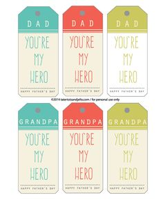 Dad and Grandpa Superhero Printables! Perfect for Father's Day! -- Tatertots and Jello