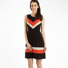 Black chevron stripe dress