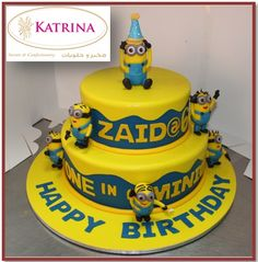 2 Layer Minion Cake Design