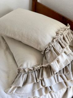 A pair of canvas shams pillow cases with long ruffles bedding decor handmade french . - A pair of canvas shams pillow cases with long ruffles bedding decor handmade French country farmh, - Modern French Country, French Country Bedrooms, French Country Farmhouse, French Country Bedding, French Country Crafts, Farmhouse Decor, Farmhouse Design, American Farmhouse, Farmhouse Style