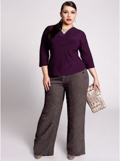 Designer Plus Size Fall Women's Clothing Work Looks Plus Size Pants