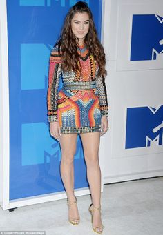 Stunner: Hailee Steinfeld looked lovely in a colorful mini dress for the MTV Video Music Awards on Sunday in New York City