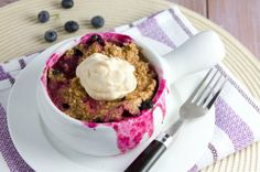 5 minute Blueberry Quinoa Flake Bake with Lemon Cream by Healthful Pursuit