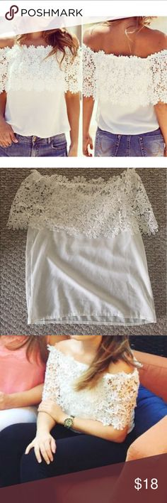 Lace white blouse Only worn once. It's sheer. No brand, bought from a boutique. No flaws or stains. Tags free people, loft, urban outfitters, Zara Tops Blouses