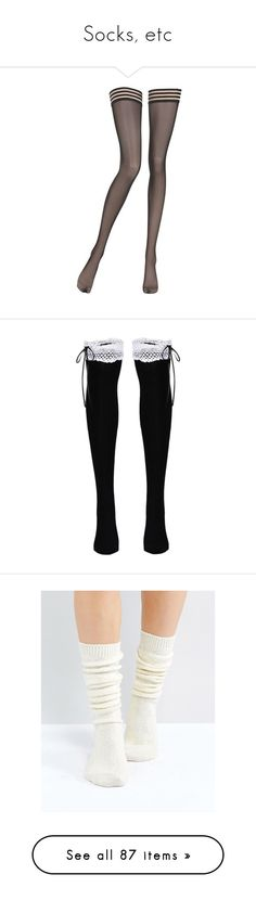 """""""Socks, etc"""" by starz-official ❤ liked on Polyvore featuring intimates, hosiery, tights, thigh high hosiery, la perla stockings, stripe tights, striped stockings, striped thigh high stockings, socks and cream"""