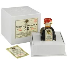 """20 Year """"Emozione"""" is one of the Mussini """"Cube Collection"""" in an attractive gift box. Recommended to be used in combination with all foods. Particularly delicious with meat, fish, vegetables, parmesan cheese, zampone, potatoes, ice cream and strawberries. This is the youngest of the upper end of the Mussini high end balsamic vinegars. Certified authentic. Certainly of of the more cost effective in the upper end of the line of beautiful balsamic products produced in Italy today."""