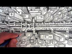 Cómo dibujar una ciudad utilizando la perspectiva de dos puntos - YouTube