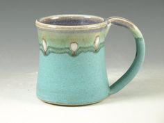 Ceramic mug with large Handle turquoise wheel by Hodakapottery