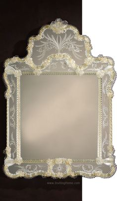 Beautiful Venetian Murano glass mirror framed in etched glass panels and gold highlights. Venetian mirror has elegant hand-etched design, trimmed with Murano glass ribbons and rosettes. This Venetian mirror is hand-crafted in Murano, Italy Glass Collection, Murano Glass, Mirrors For Sale, Hand Etched Glass, Venetian Mirrors, Murano Mirrors, Murano Glass Mirror, Mirror, Venetian Glass