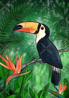 Watercolor Bird, Watercolor Illustration, Parrot Drawing, Bird Wall Art, Wildlife Paintings, Illustrations, Art Drawings Sketches, Beautiful Birds, Modern Art