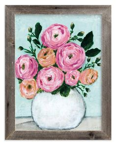 """Rosy Posy"" - Painting Limited Edition Art Print by Sen Chloe. Wall Art Prints, Canvas Prints, Patio Design, Custom Art, Flower Prints, Rose, Printer, Floral Wreath, Floral Flowers"
