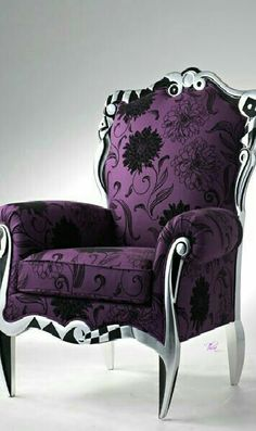 Purple and Silver Chair - So glam! Ultra Violet purple is 2018 Color of the Year Purple Furniture, Funky Furniture, Painted Furniture, Furniture Outlet, Purple Chair, All Things Purple, Purple Stuff, Purple Reign, Home And Deco