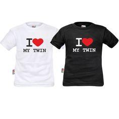 Lot de deux tee shirts enfant jumeaux : I love my twin - SiMedio