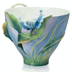 Blue Poppy flower porcelain decorative bowl Desgin by UtePatel-Missfeldt
