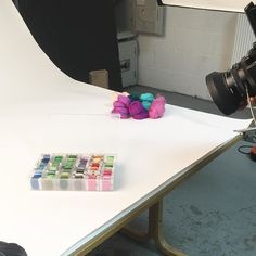 Paul the @searchpress photographer getting some essential arty shots of materials used! 2nd day of photography today... stay tuned for more behind the scenes!  #searchpressbooks @behindthescenes #photography #photoshoot #stepbystep #feltbook #feltprojects