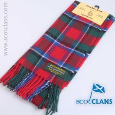 Sinclair Red Tartan Lambswool Scarf from ScotClans