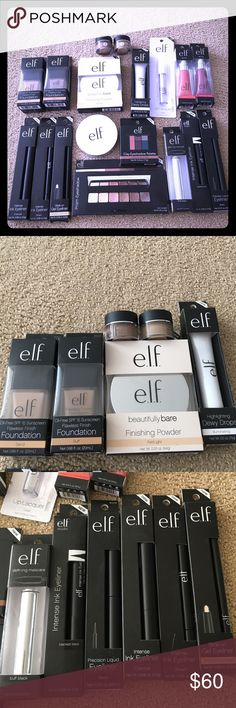 ELF makeup bundle New Years makeup! NEW in package This is a makeup bundle for all 18 items - brand new never used and many are still in their package! You get 2 foundations with SPF 15 color sand and buff - 2 finishing powders fair/light and medium/dark - 2 brow liner / cream colors are taupe blonde and light brown - illuminating dewy drops - 2 lip tints - prism eyeshadow and J glow eyeshadow-  5 eyeliners charcoal, brown, nude, black and blackest black - defining mascara ELF Makeup