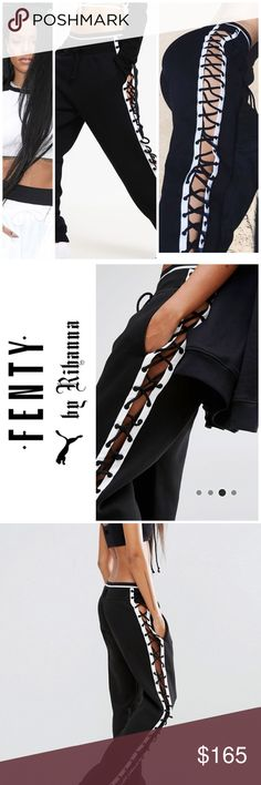 NEW Fenty Puma lace up pant AMAZING Fenty Puma lace up joggers / sweatpants. Very hard to find  Collaboration with Rihanna Fenty Soft-touch sweat Drawstring waistband Side pockets Lace-up sides Relaxed fit Machine wash 53% Cotton, 47% Polyester Puma Pants