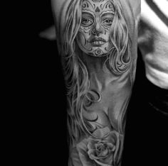 Jun Cha day of the dead tattoo #TattooModels