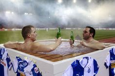 FC Grasshopper placed a jacuzzi in their stadium for two lucky fans to watch the game from while enjoying the hospitality