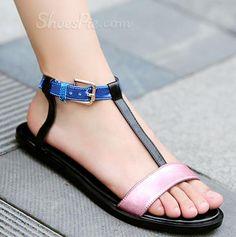 sensationaly hot Remarkable Contrast Color Cowhide Flat Sandals